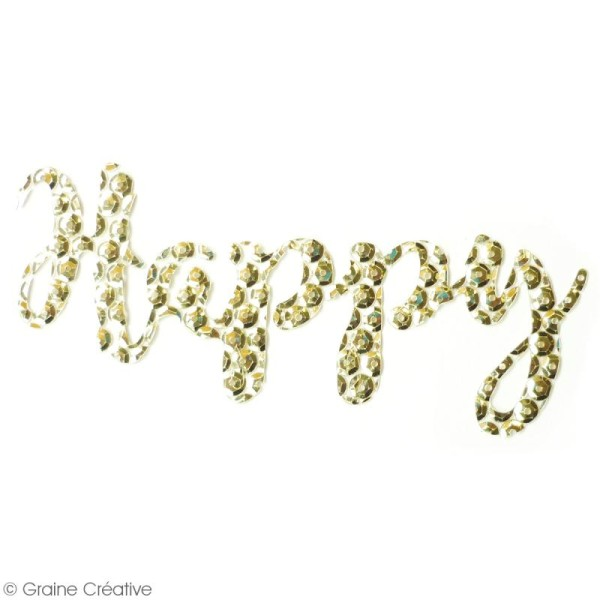 Sticker en sequins - Happy - Doré - Photo n°2