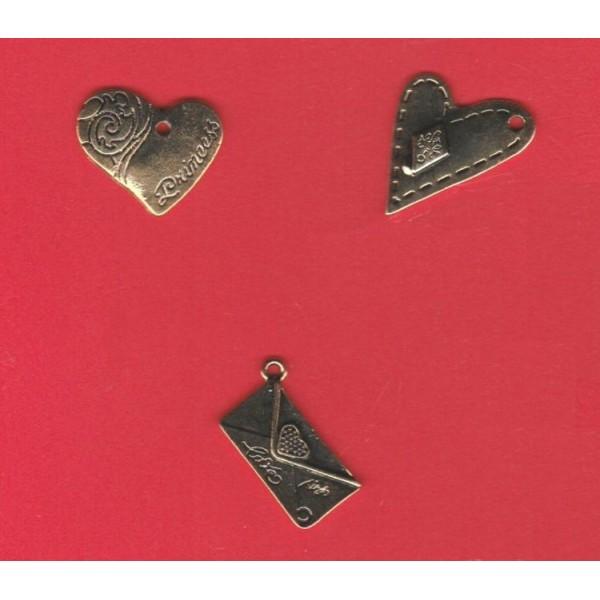 3 Breloques charms pendentifs coeurs et enveloppe pour Scrapbooking, Création de bijou - Photo n°2
