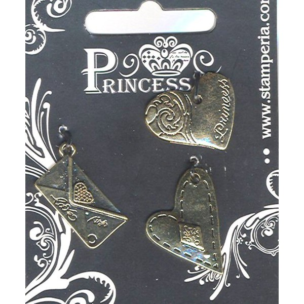3 Breloques charms pendentifs coeurs et enveloppe pour Scrapbooking, Création de bijou - Photo n°1