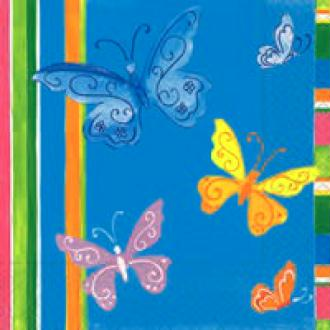 4 serviettes en papier découpage collage 33 cm GROS PAPILLONS 29