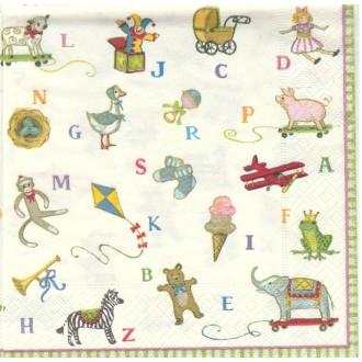 4 Serviettes en papier Naissance Alphabet Format Lunch