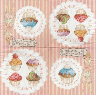 4 Serviettes en papier Pâtisserie cupcakes Format Lunch