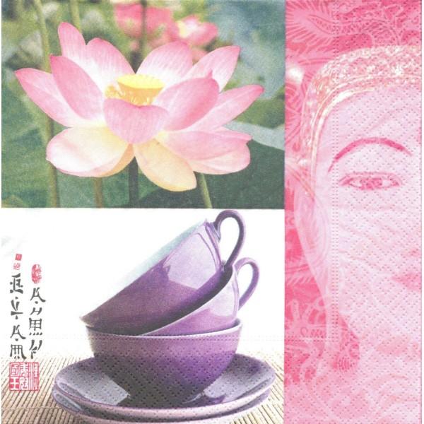 4 Serviettes en papier Asie Lotus Thé Bouddha Format Lunch Decoupage Decopatch 21569 Paper+Design - Photo n°1