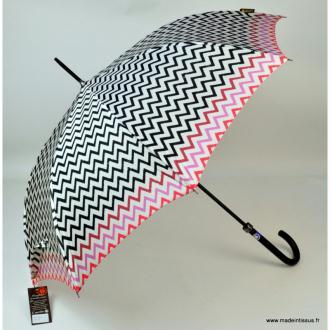 Parapluie Piganiol rayures noires et roses