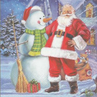 4 Serviettes en papier Père Noël Homme de neige Format Lunch