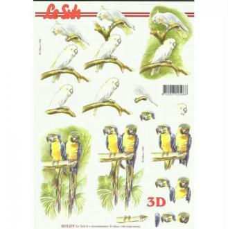 Feuille 3D découpage collage carte 3D A4 PEROQUET 219