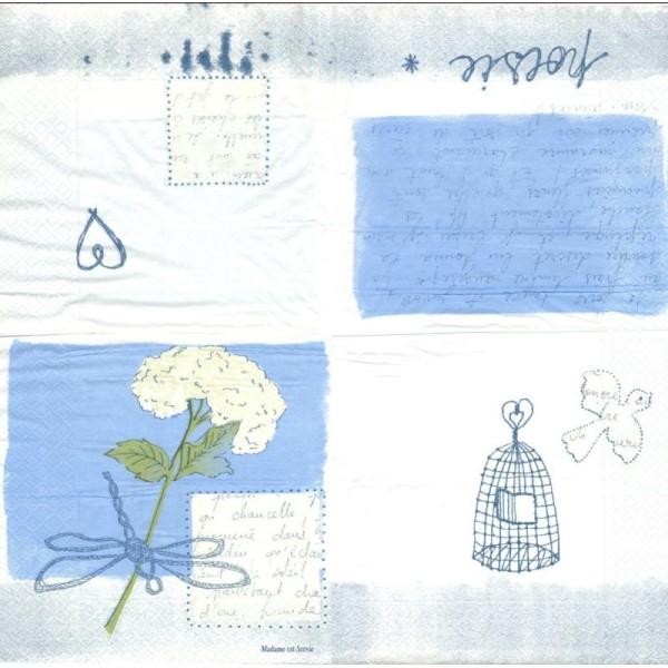 4 Serviettes En Papier Poésie Hortensia écriture Format Lunch