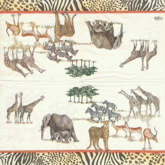 4 Serviettes en papier éléphant Girafe zèbre Safari Format Cocktail