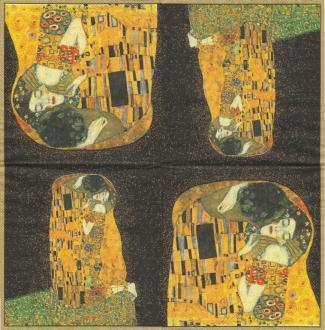 4 Serviettes en papier Klimt Le baiser Format Lunch