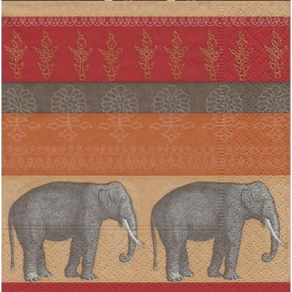 4 Serviettes en papier éléphant Asie Inde Format Cocktail - Photo n°1