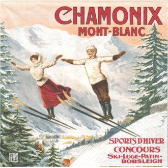 4 Serviettes en papier Chamonix Sauteurs Format Lunch