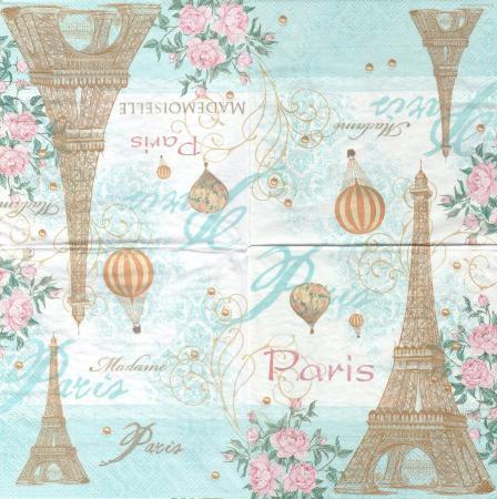 Serviettes en papier toujours paris tour eiffel montgolfi re format - Boutique loisir creatif paris ...