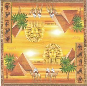 4 Serviettes en papier Egypte Pharaon Pyramides Format Lunch