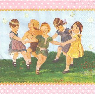 4 Serviettes en papier Enfants font la ronde Format Lunch