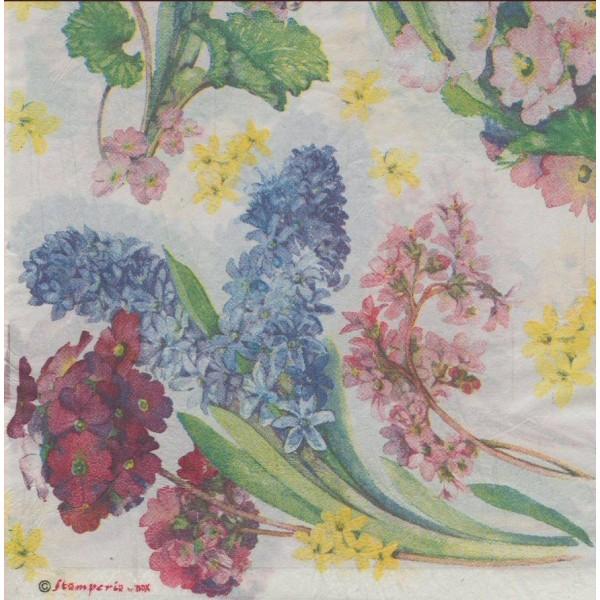 Serviette en papier de riz Couronne de fleurs Jacynthe 50x50 cm - Photo n°2