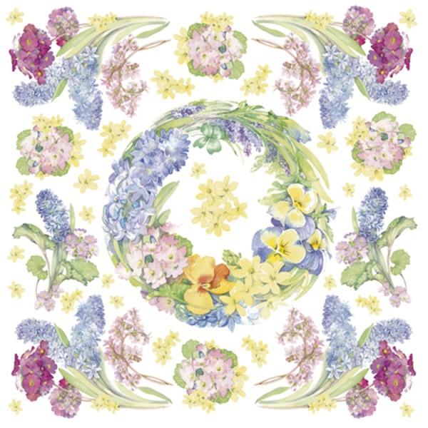 Serviette en papier de riz Couronne de fleurs Jacynthe 50x50 cm - Photo n°1