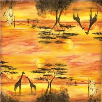 Serviette en papier de riz Savane Afrique 50x50 cm