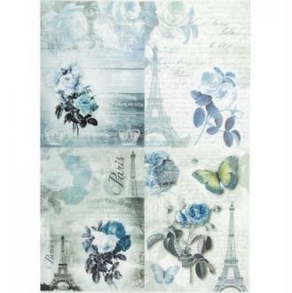 1 feuille de papier de riz 21 x 28 cm découpage collage VINTAGE PARIS FLEUR PAPILLON 736