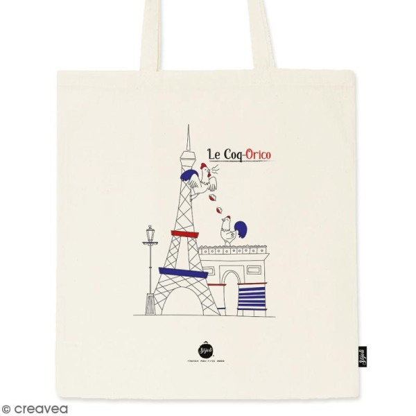 Tote bag Coq-Orico - Collection Cocorico - 36 x 42 cm - Photo n°1