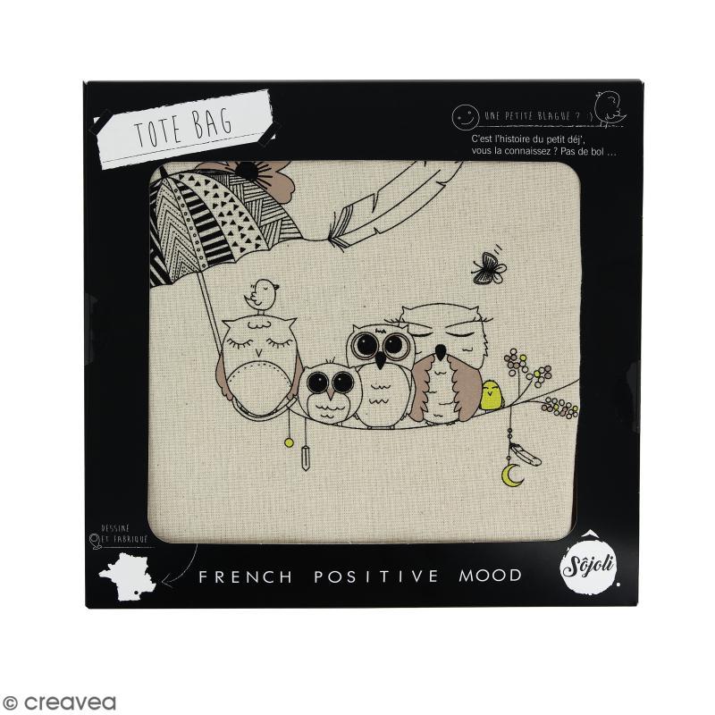 Tote bag Chouette - Collection Champêtre - 36 x 42 cm - Photo n°2