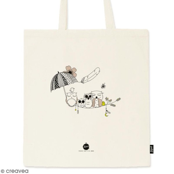 Tote bag Chouette - Collection Champêtre - 36 x 42 cm - Photo n°1
