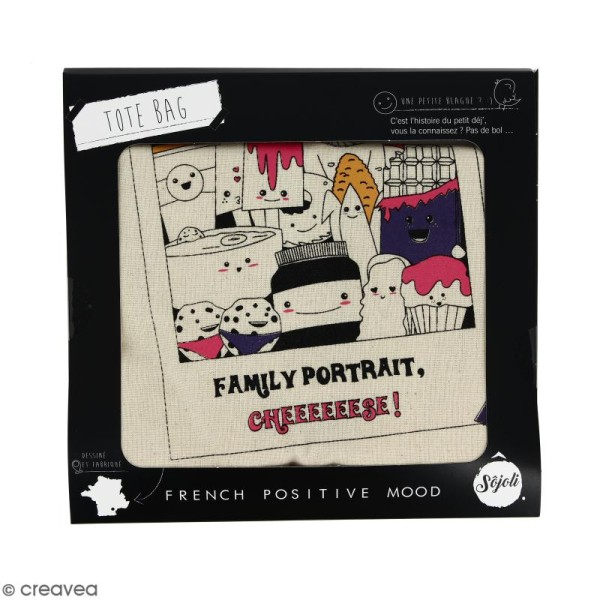 Tote bag Family Portrait - Collection Kawaii - 36 x 42 cm - Photo n°2