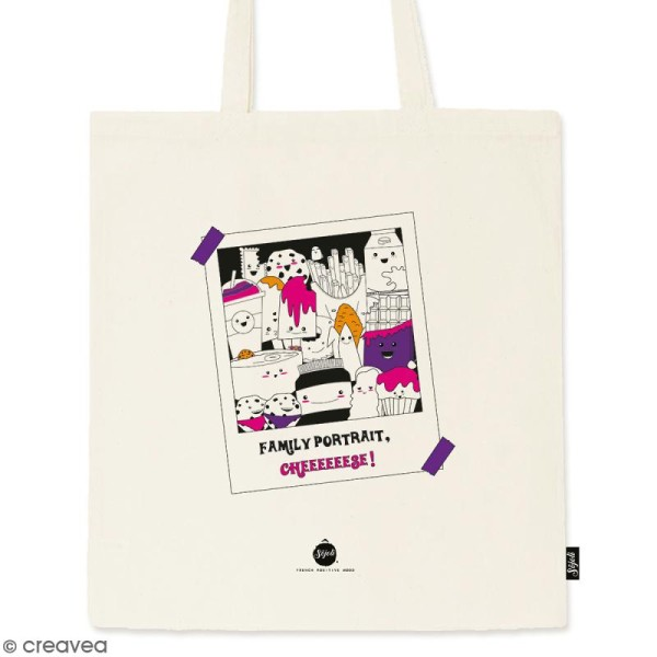 Tote bag Family Portrait - Collection Kawaii - 36 x 42 cm - Photo n°1