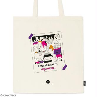 Tote bag Family Portrait - Collection Kawaii - 36 x 42 cm