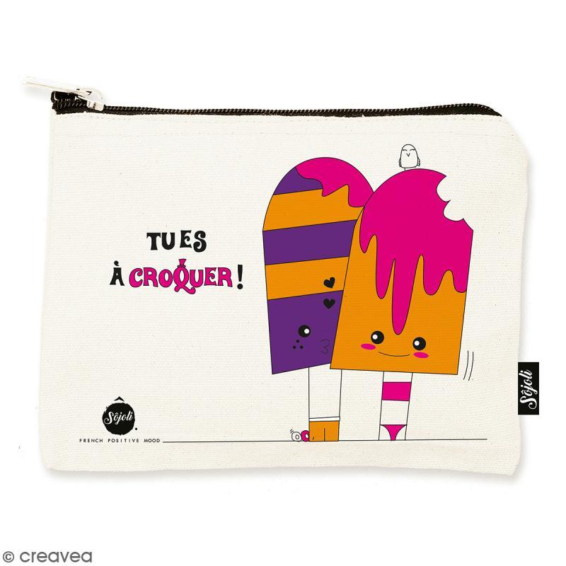 Pochette Tu es à croquer - Taille M - Collection Kawaii - 22 x 16 cm - Photo n°1