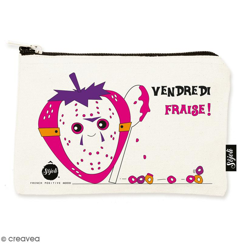 Pochette Vendredi Fraise - Taille S - Collection Kawaii - 22 x 12 cm - Photo n°1