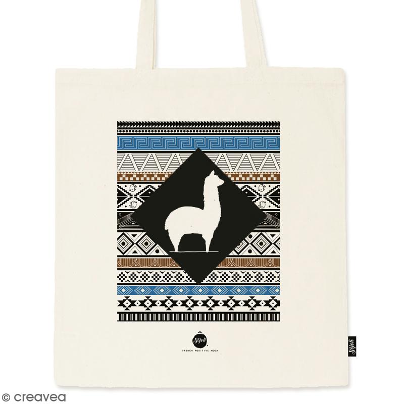 Tote bag Motif Aztèque - Collection Lama - 36 x 42 cm - Photo n°1