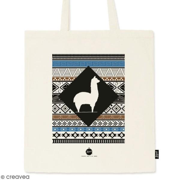 Tote bag Motif Aztèque - Collection Lama - 36 x 42 cm - Photo n°1