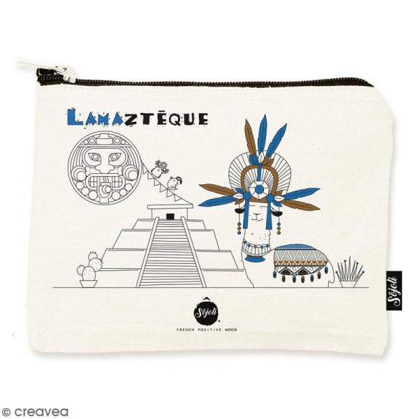 Pochette Lamaztèque - Taille M - Collection Lama - 22 x 16 cm - Photo n°1