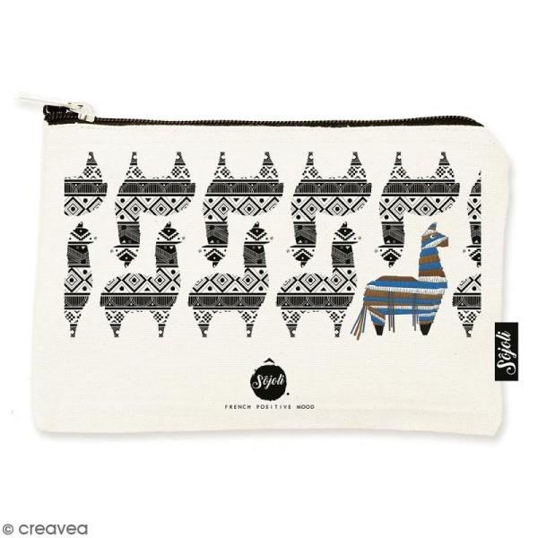 Pochette Motif Lama - Taille S - Collection Lama - 22 x 12 cm - Photo n°1
