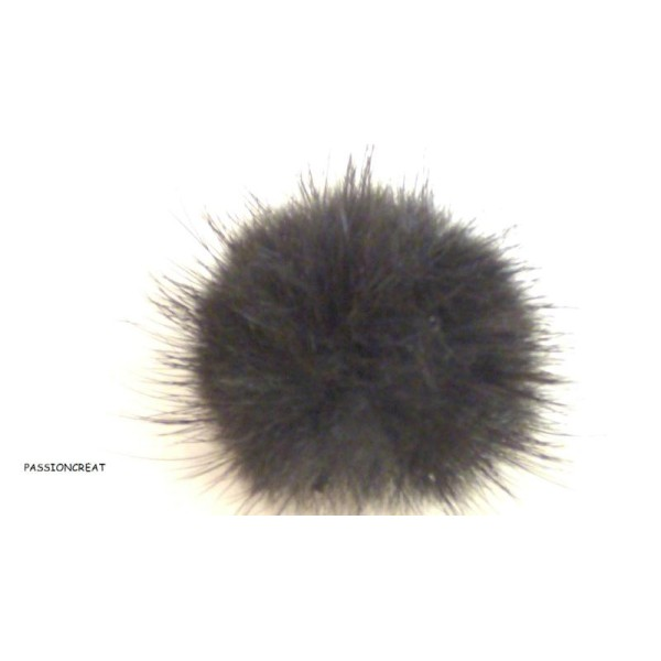 2 Pompon Fourrure Noir 30mm 3cm - Photo n°1