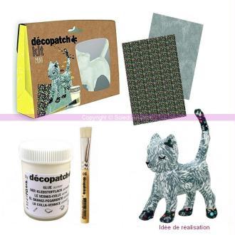 Kit Mini Créatif Décopatch Chat Gris 13,5cm en plâtre avec accessoires pinceau,