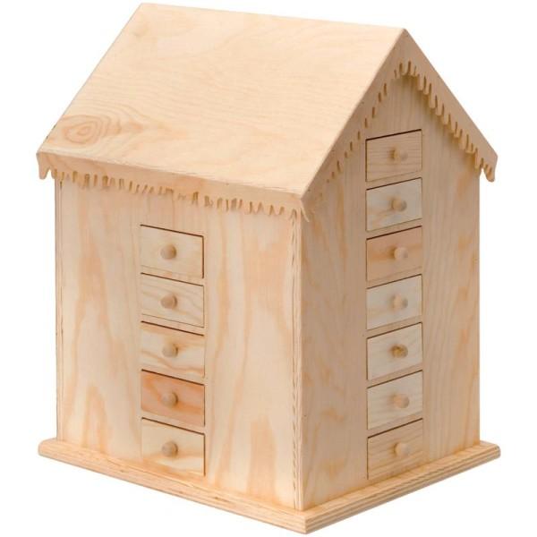 Maison Calendrier de l'Avent en bois brut 25 x 21 x 33 cm - Photo n°1