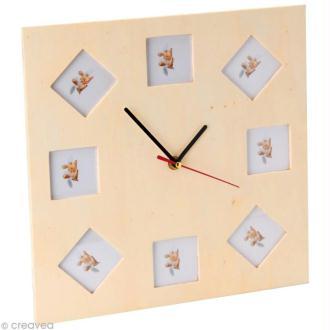 Horloge à photos en bois 30 x 30 cm