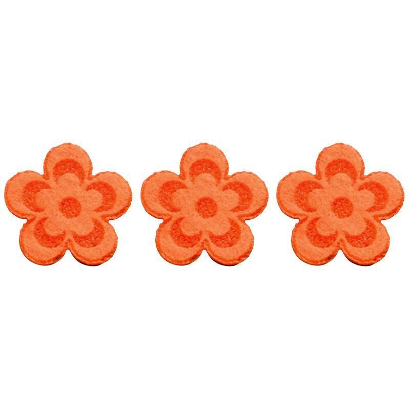 fleur en feutrine 3 cm orange lot de 10 formes en feutrine creavea. Black Bedroom Furniture Sets. Home Design Ideas