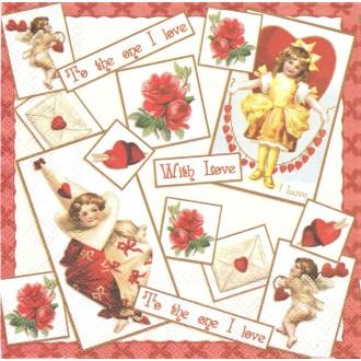 4 Serviettes en papier Amour Cœur Format Lunch