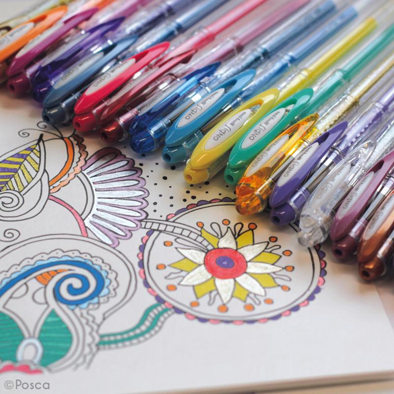 Coffret stylos gel métal et blanc - Mandala Workshop - 6 stylos - Photo n°4