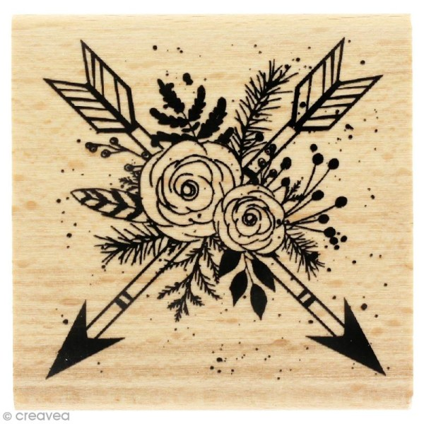Tampon bois Gypsy forest - Flèches en fleurs - 60 x 60 mm - Photo n°1