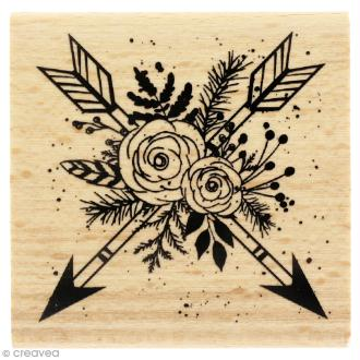 Tampon bois Gypsy forest - Flèches en fleurs - 60 x 60 mm
