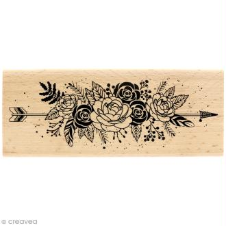 Tampon bois Gypsy forest - Fleurs et plumes - 60 x 150 mm