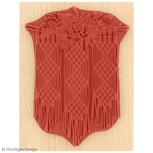 Tampon bois Gypsy forest - Macramé floral - 100 x 130 mm - Photo n°3