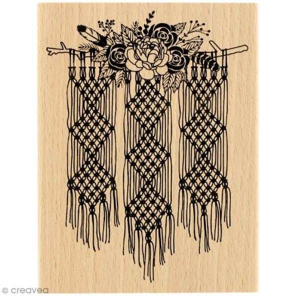 Tampon bois Gypsy forest - Macramé floral - 100 x 130 mm - Photo n°1