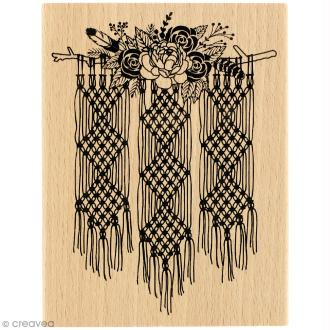 Tampon bois Gypsy forest - Macramé floral - 100 x 130 mm