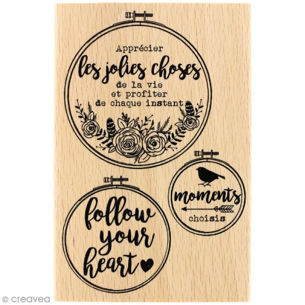 Tampon bois Gypsy forest - Follow your heart - 100 x 150 mm - Photo n°1