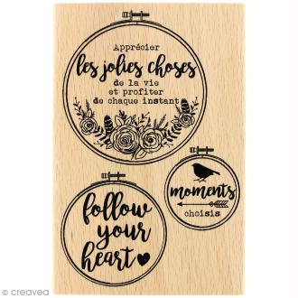 Tampon bois Gypsy forest - Follow your heart - 100 x 150 mm