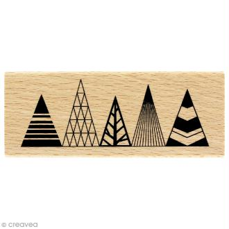 Tampon bois Modern christmas (Noël) - Sapins graphiques - 40 x 100 mm